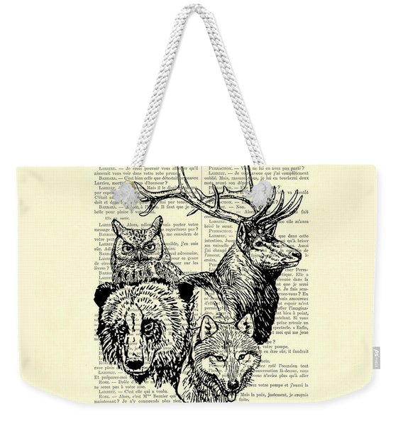 Wolf, Bear, Deer, Owl Wildlife Animals Black And White Weekender Tote Bag