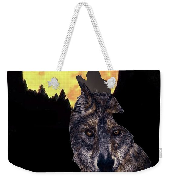 Wolf Howling At The Moon Weekender Tote Bag
