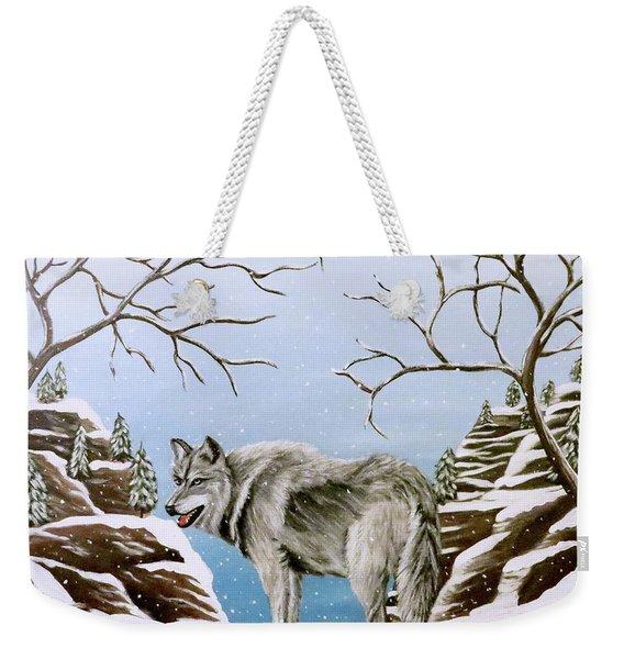 Wolf In Winter Weekender Tote Bag