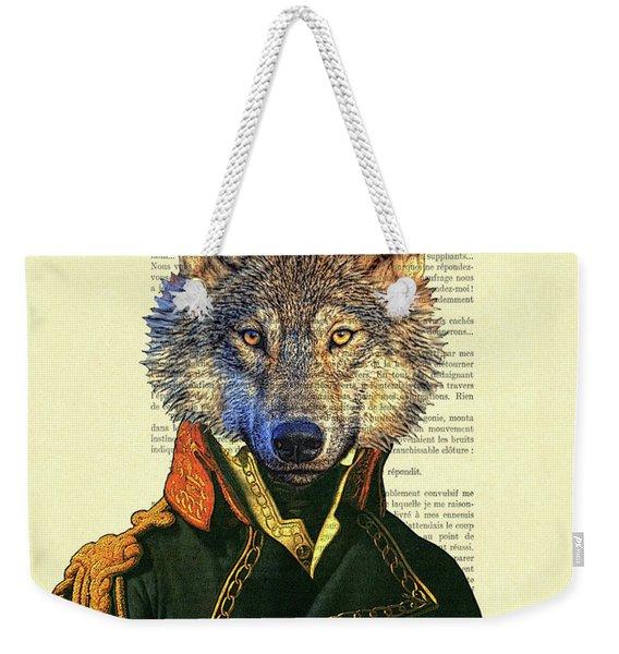 Wolf Portrait Illustration Weekender Tote Bag