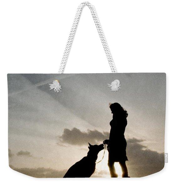 Woman And Dog  Weekender Tote Bag