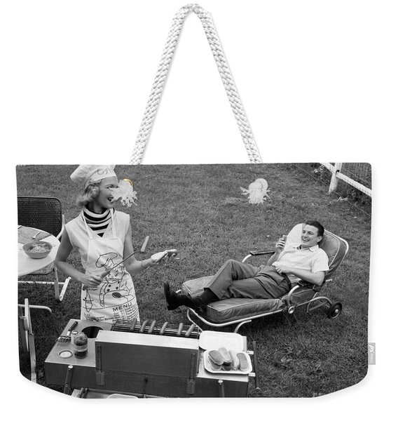 Woman Grilling Hot Dogs For Man Weekender Tote Bag