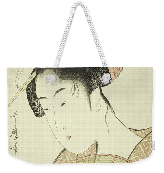 Woman Holding A Round Fan Weekender Tote Bag