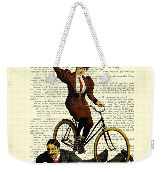 Woman On Bicycle Riding Over Man Weekender Tote Bag