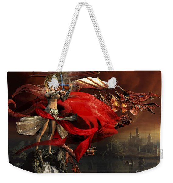 Woman Playing A Magical Violin To Call Weekender Tote Bag