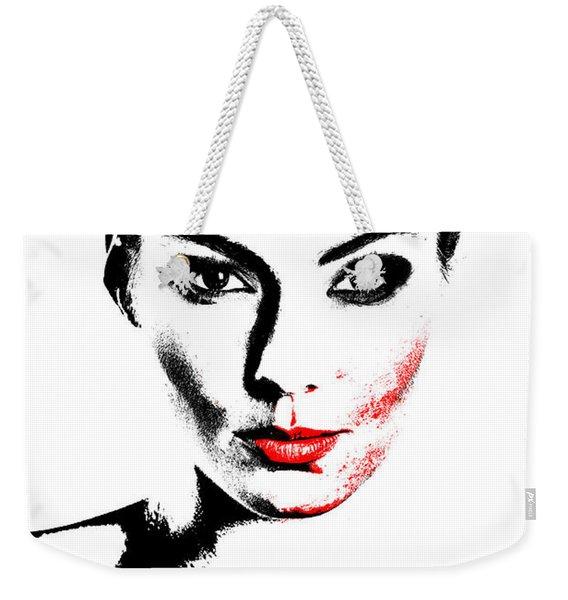 Woman Portrait In Art Look Weekender Tote Bag
