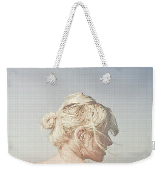 Woman Relaxing On The Beach Weekender Tote Bag