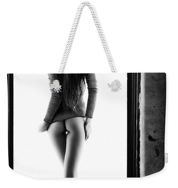 Woman Standing In Doorway Weekender Tote Bag