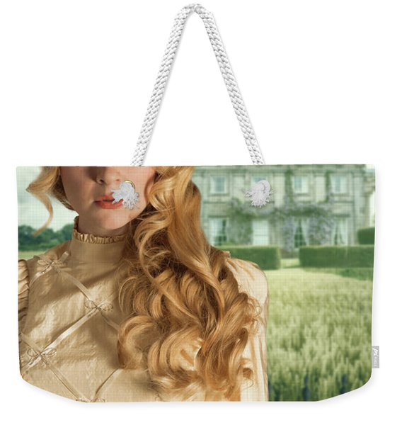 Woman Standing Outside Manor House Weekender Tote Bag