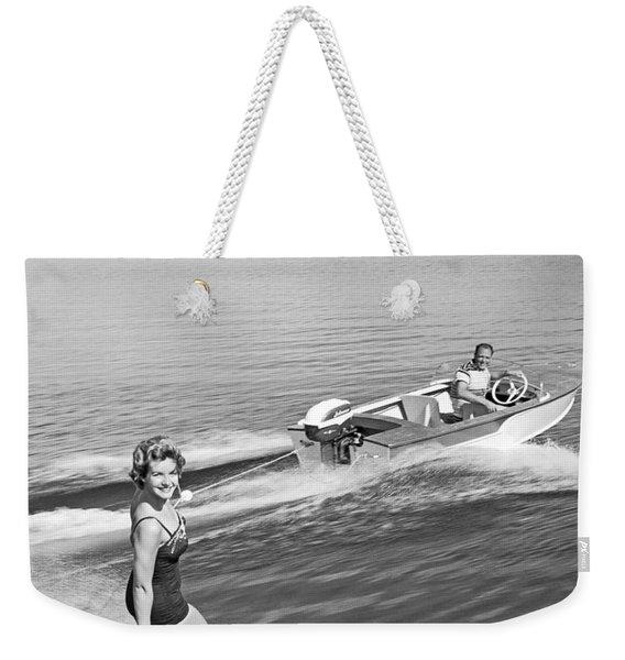 Woman Water Skiing Weekender Tote Bag
