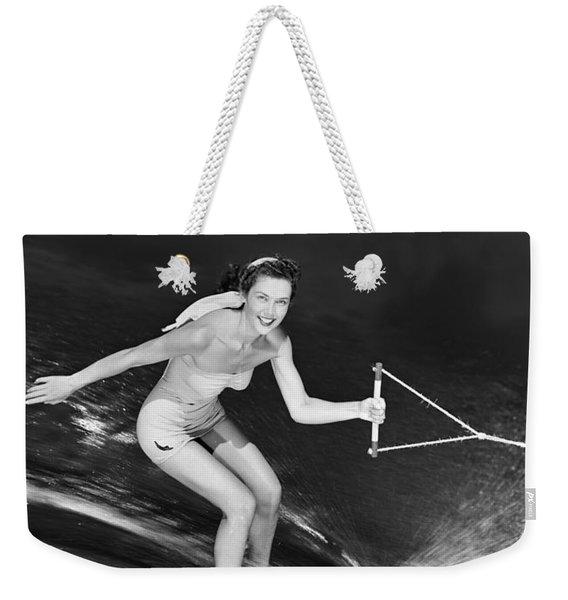 Woman Waterskiing Weekender Tote Bag