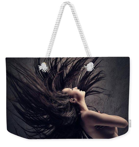Woman Waving Long Dark Hair Weekender Tote Bag