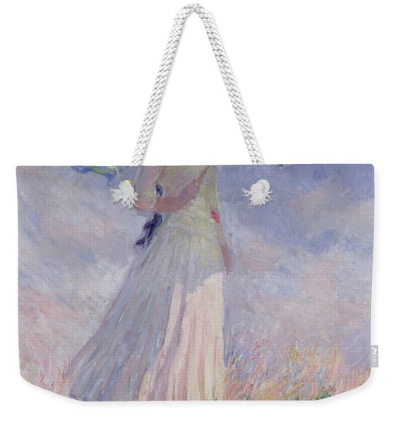 Woman With A Parasol Turned To The Right Weekender Tote Bag