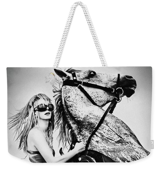 Woman With A White Horse Weekender Tote Bag