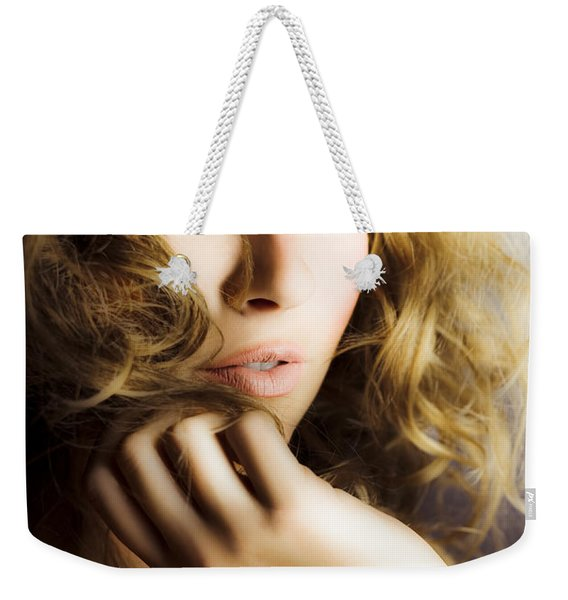 Woman With Beautiful Wavy Hair Weekender Tote Bag