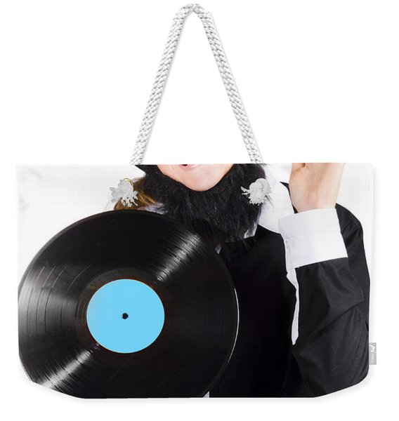 Woman With Vinyl Record Over White Background Weekender Tote Bag