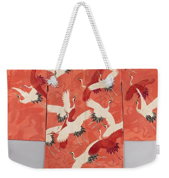 Woman's Haori With White And Red Cranes Weekender Tote Bag