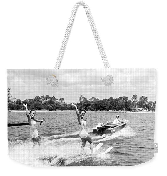 Women Water Skiers Waving Weekender Tote Bag