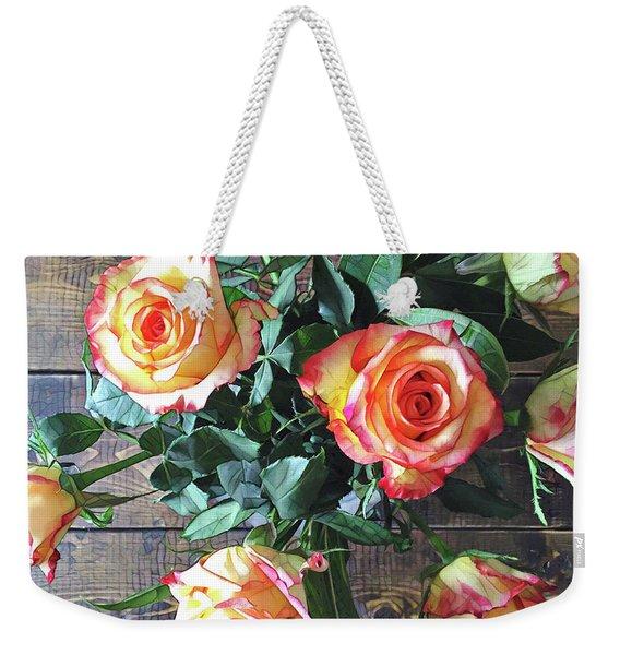 Wood And Roses Weekender Tote Bag