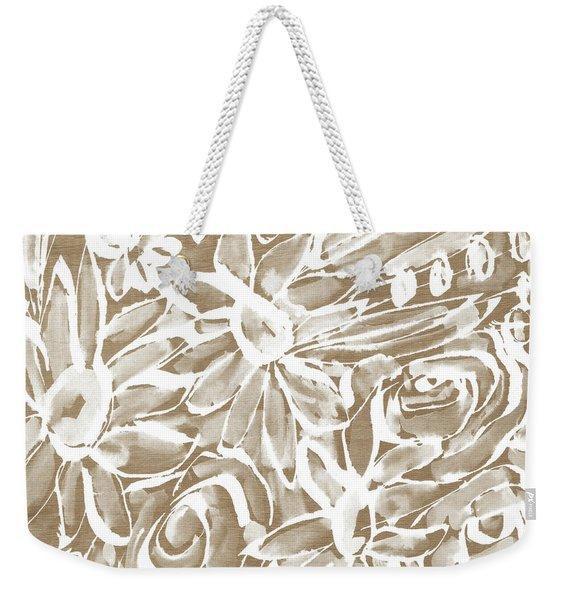 Wood And White Floral- Art By Linda Woods Weekender Tote Bag