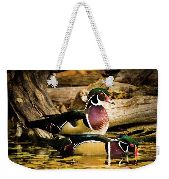 Wood Ducks In Autumn Waters Weekender Tote Bag