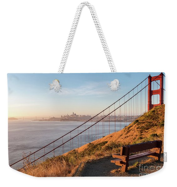 Wooden Bench Overlooking Downtown San Francisco With The Golden  Weekender Tote Bag