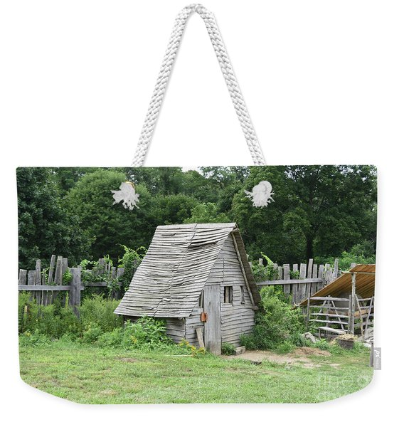 Wooden Chicken Coop And Grass Pasture For Animals Weekender Tote Bag