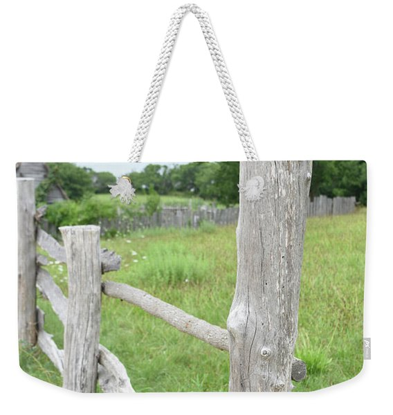 Wooden Fence Post On The Corner Of A Pasture Weekender Tote Bag