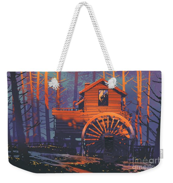 Weekender Tote Bag featuring the painting Wooden House by Tithi Luadthong