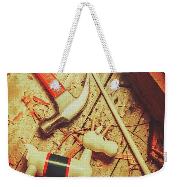 Wooden Model Toy Reindeer. Christmas Craft Weekender Tote Bag