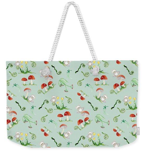 Woodland Fairy Tale - Red Mushrooms N Owls Weekender Tote Bag