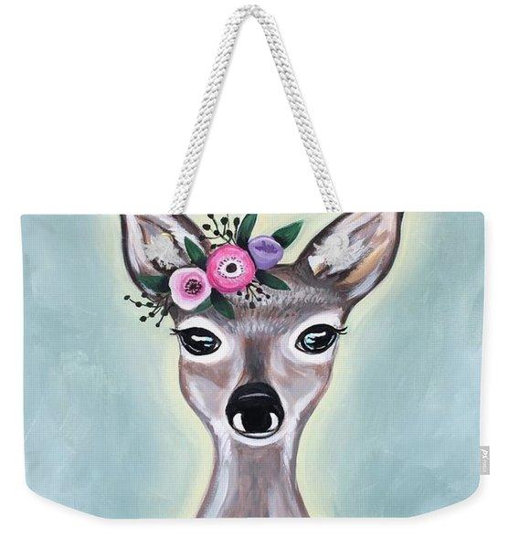 Woodland Floral Deer Weekender Tote Bag