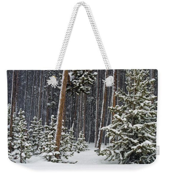 Woodland Snowstorm In Yellowstone Weekender Tote Bag