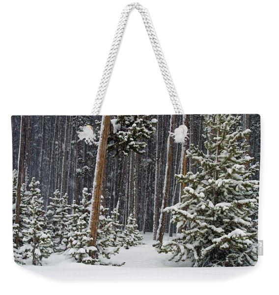 Woodland Snowstorm In Yellowstone Weekender Tote Bag