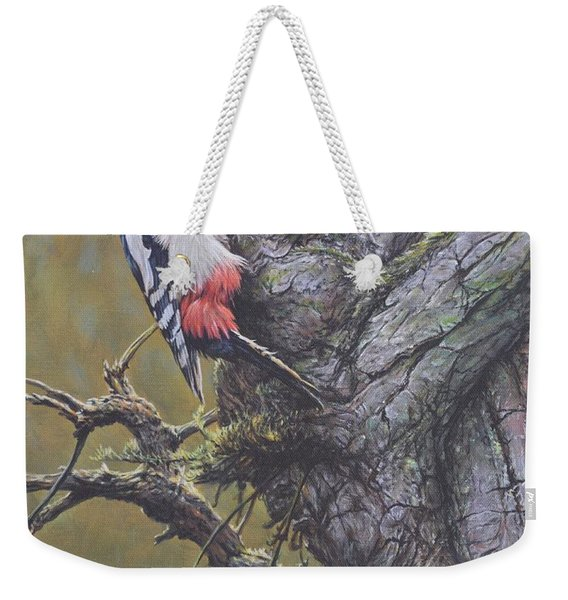 Weekender Tote Bag featuring the painting Woodpecker On Tree by Alan M Hunt