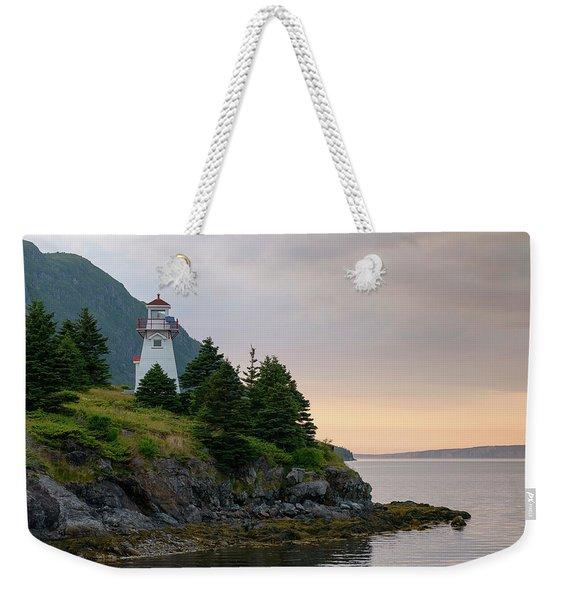 Woody Point Lighthouse - Bonne Bay Newfoundland At Sunset Weekender Tote Bag