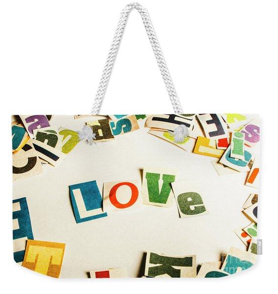Word Of Love Weekender Tote Bag