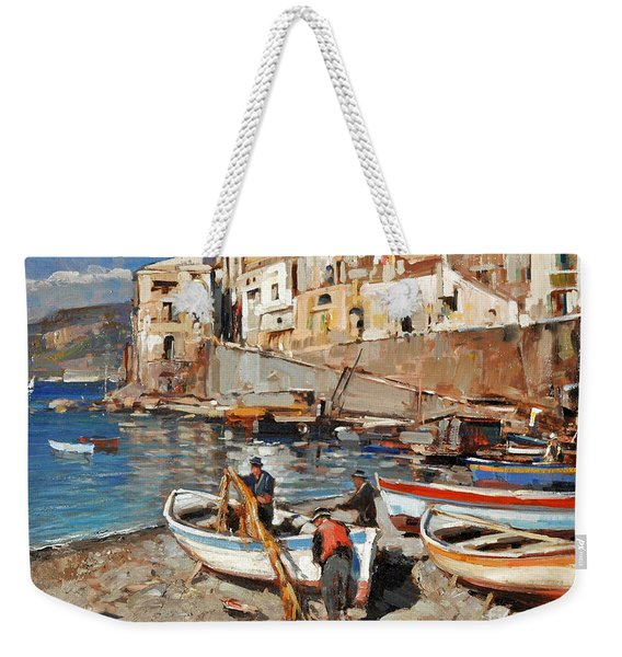 Weekender Tote Bag featuring the painting Work Never Ends For Amalfi Fishermen by Rosario Piazza