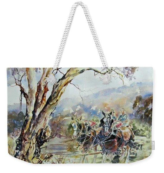 Working Clydesdale Pair, Australian Landscape. Weekender Tote Bag