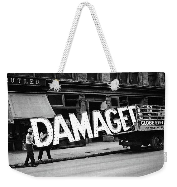 Workmen Hauling Damaged Sign Walker Evans Photo New York City 1930 Color Added 2008 Weekender Tote Bag