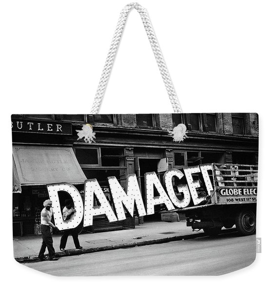 Workmen Hauling Damaged Sign Walker Evans Photo New York City 1930 Color Added 2008 Weekender Tote Bag