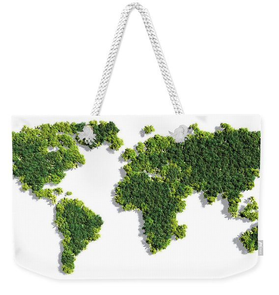 World Map Made Of Green Trees Weekender Tote Bag