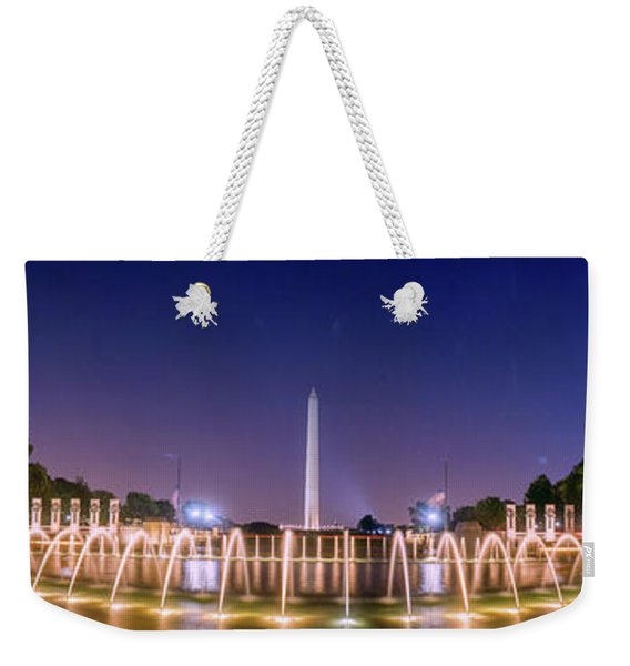 World War 2 Memorial With Full Moon And Washington Monument Weekender Tote Bag