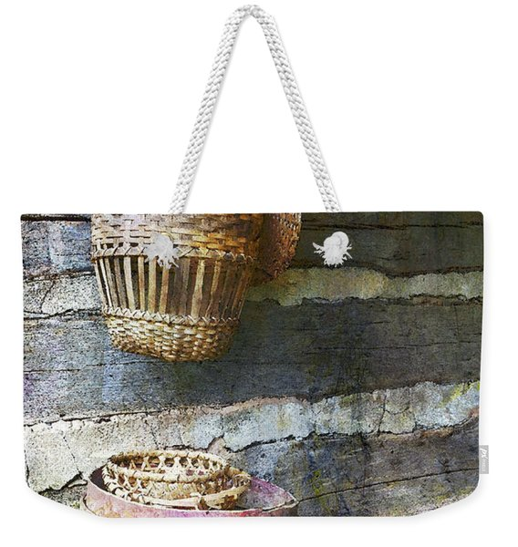 Woven Wood And Stone Weekender Tote Bag