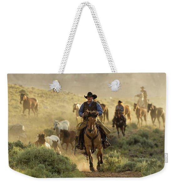 Wrangling The Horses At Sunrise  Weekender Tote Bag
