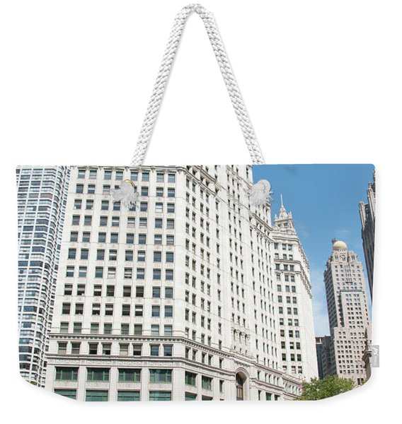 Wrigley Building Overlooking The Chicago River Weekender Tote Bag