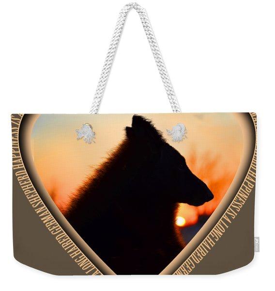 Wuffstar Happiness Is A Long Haired German Shepherd Heart Weekender Tote Bag