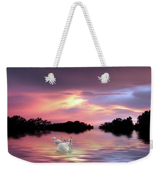 Sunset Swans Weekender Tote Bag
