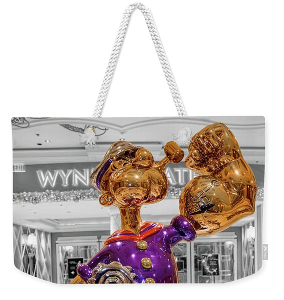 Wynn Popeye Statue Black White And Color By Jeff Koons Weekender Tote Bag