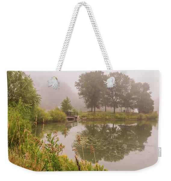 Misty Pond Bridge Reflection #5 Weekender Tote Bag